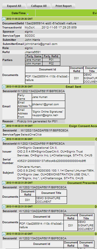 electronic signature event history expanded