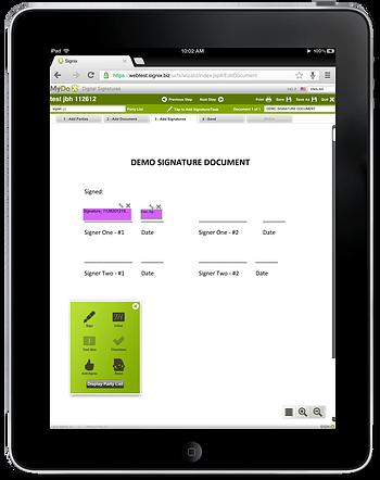 Digital signature iPad interface