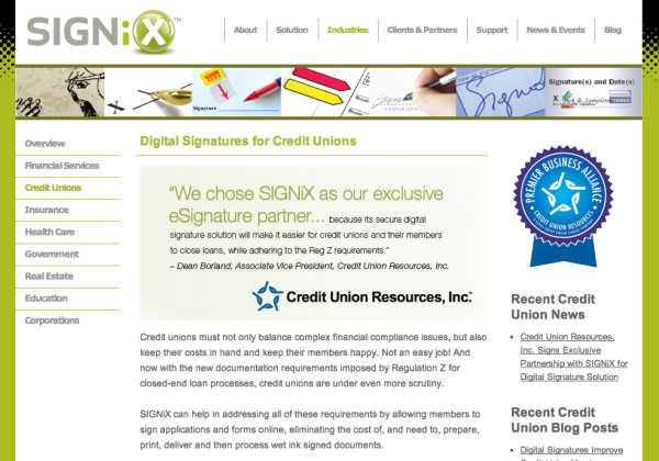 New SIGNiX Web Page for Credit Unions
