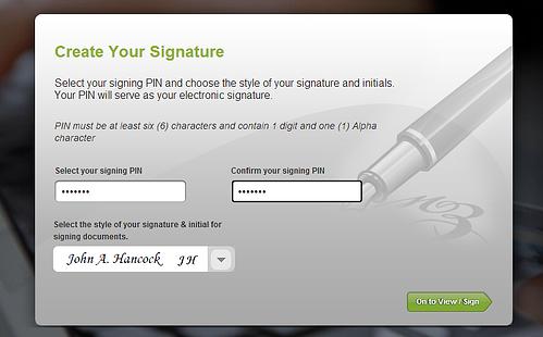 signing pin creation