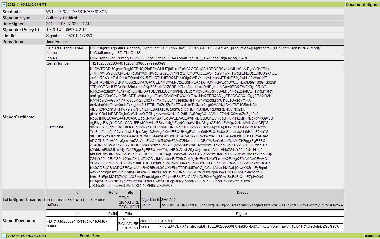 signix audit trail electronic signature detail