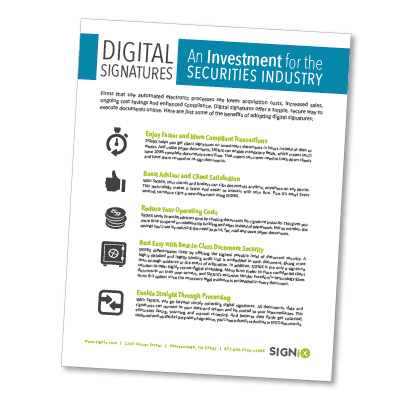 digital signatures for securities industry