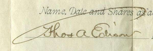 714301 Edison stock front signature